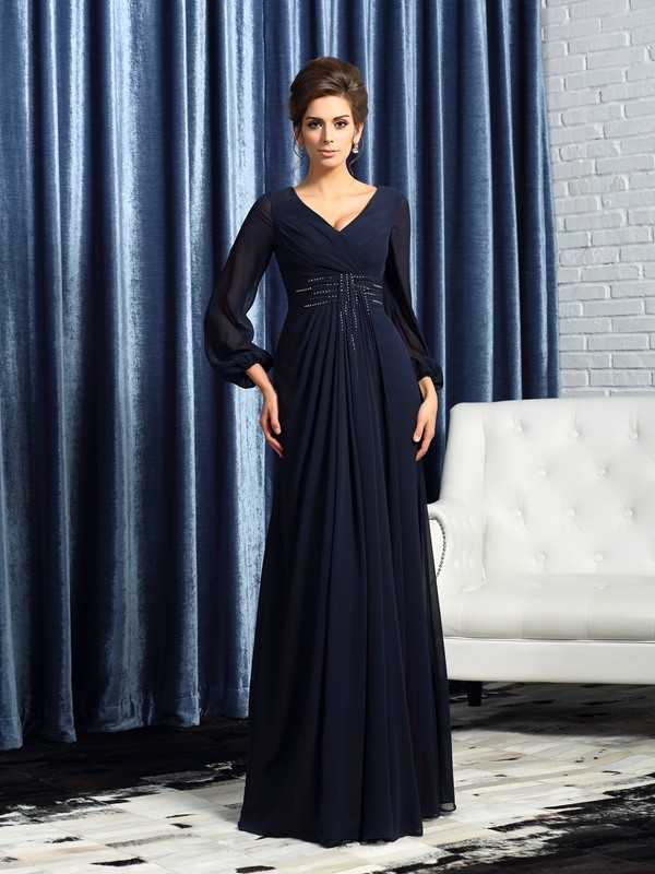 Fancy A-Line V-neck Long Sleeves Long Chiffon Mother of the Bride Dress