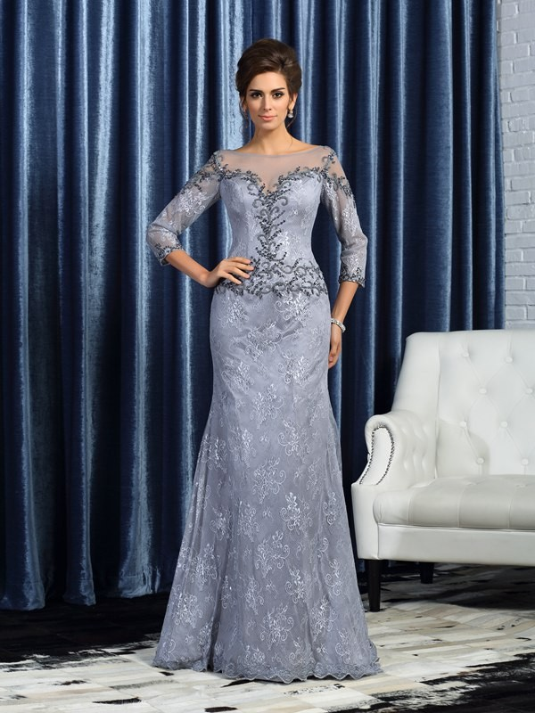Fancy Mermaid Bateau 3/4 Sleeves Long Lace Mother of the Bride Dress