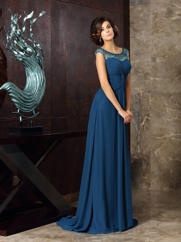 Fancy A-Line Scoop Sleeveless Long Chiffon Mother of the Bride Dress