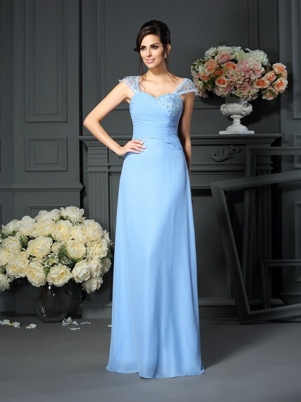Fancy Sheath Straps Sleeveless Long Chiffon Mother of the Bride Dress