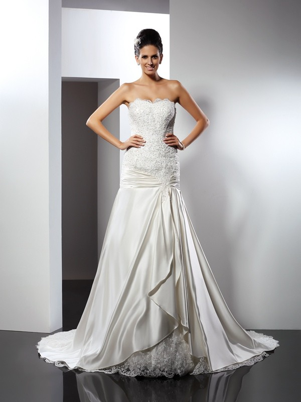 Gorgeous Mermaid Sweetheart Sleeveless Long Satin Wedding Dress