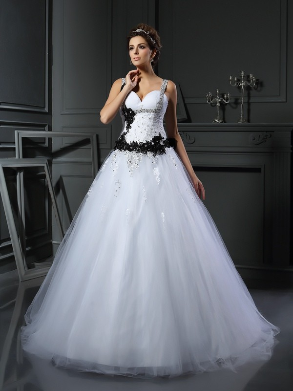 Gorgeous Ball Gown Straps Sleeveless Long Tulle Wedding Dress