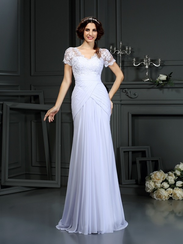 Gorgeous Sheath V-neck Lace Short Sleeves Long Chiffon Wedding Dress