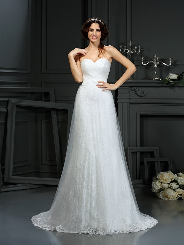 Gorgeous A-Line Sweetheart Sleeveless Long Net Wedding Dress