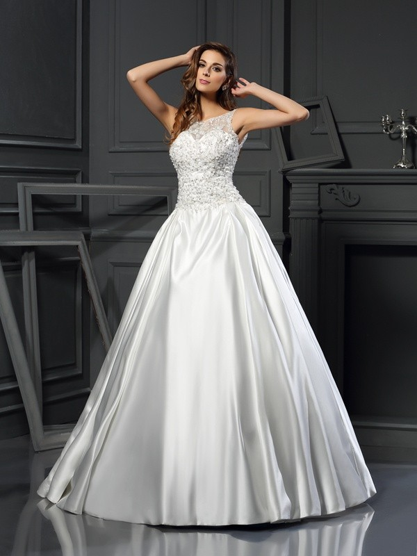 Gorgeous Ball Gown Scoop Sleeveless Long Satin Wedding Dress