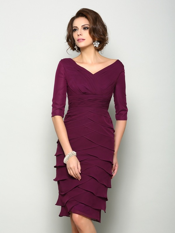 Gorgeous Sheath V-neck 1/2 Sleeves Short Chiffon Mother of the Bride Dress