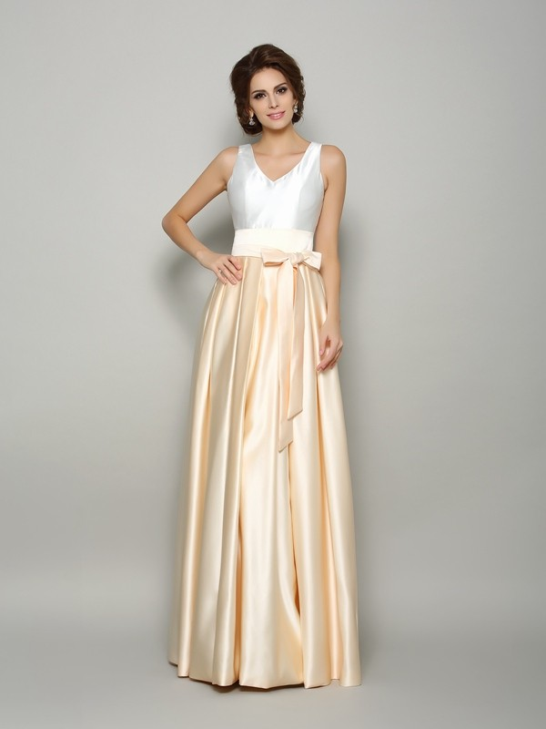 Unique A-Line V-neck Sleeveless Long Satin Mother of the Bride Dress