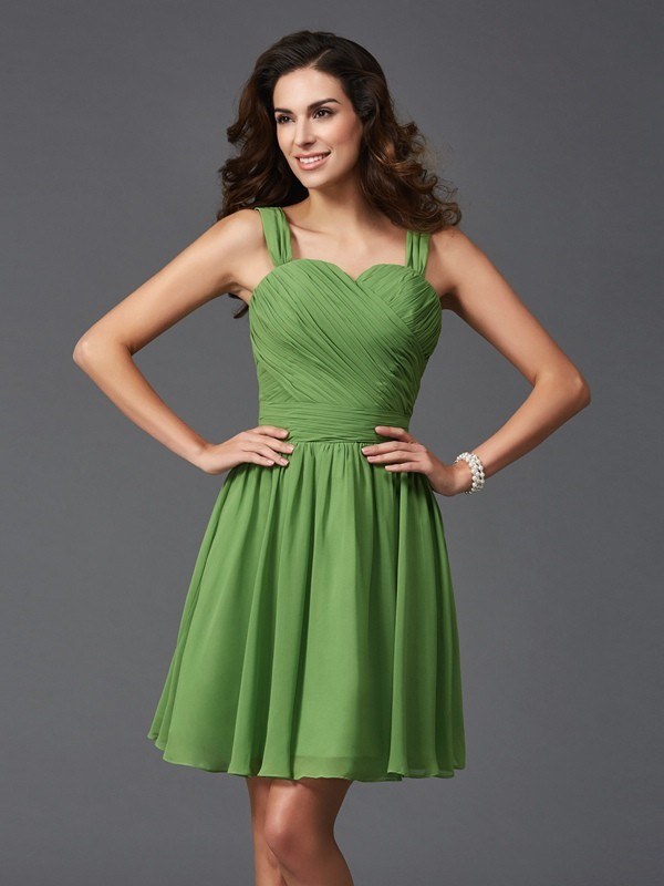 Unique A-Line Straps Sleeveless Short Silk like Satin Bridesmaid Dress