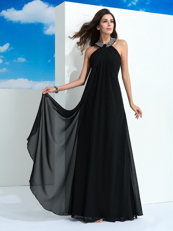 Unique A-Line Halter Sleeveless Long Chiffon Dress