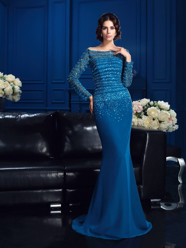 Nice Sheath Off-the-Shoulder Long Sleeves Long Chiffon Mother of the Bride Dress