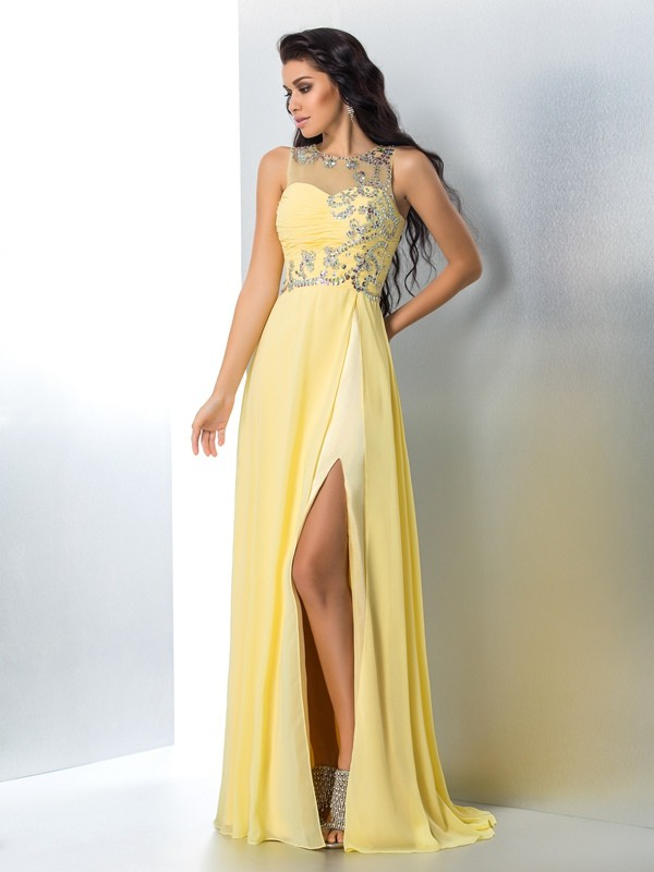 Nice A-Line Sheer Neck Sleeveless Long Chiffon Dress