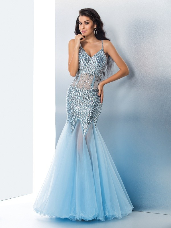 Nice Mermaid Spaghetti Straps Sequin Sleeveless Long Tulle Dress