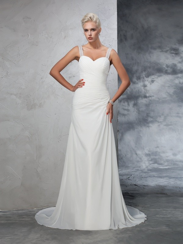 Nice Mermaid Straps Sleeveless Long Chiffon Wedding Dress
