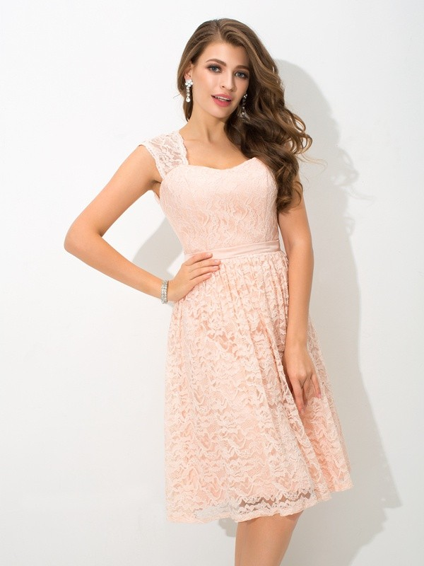 Nice A-Line Straps Lace Sleeveless Short Lace Bridesmaid Dress