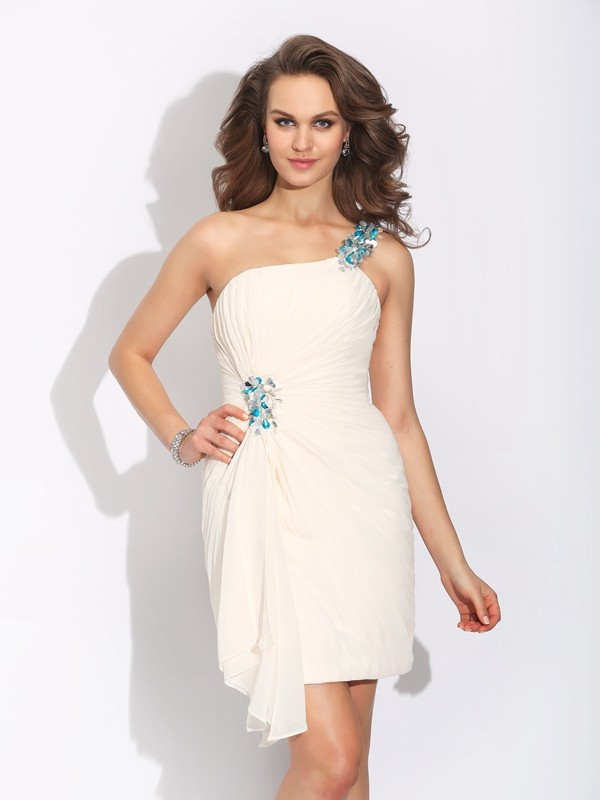 Amazing Sheath One-Shoulder Sleeveless Short Chiffon Dress