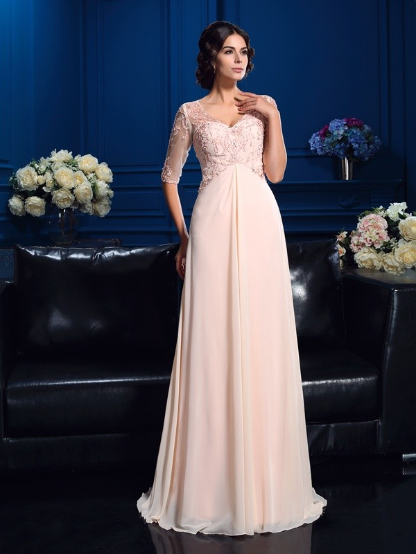 Amazing A-Line V-neck 1/2 Sleeves Long Chiffon Mother of the Bride Dress