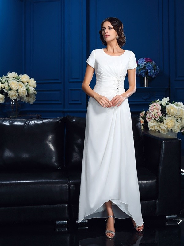 Amazing A-Line Scoop Short Sleeves High Low Chiffon Mother of the Bride Dress
