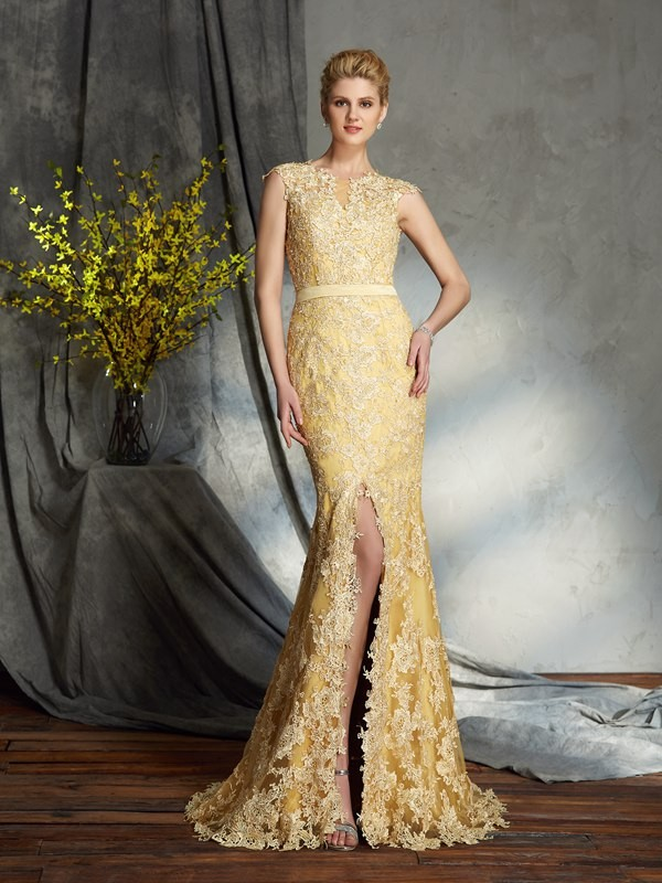 Amazing Mermaid Scoop Lace Sleeveless Long Lace Mother of the Bride Dress
