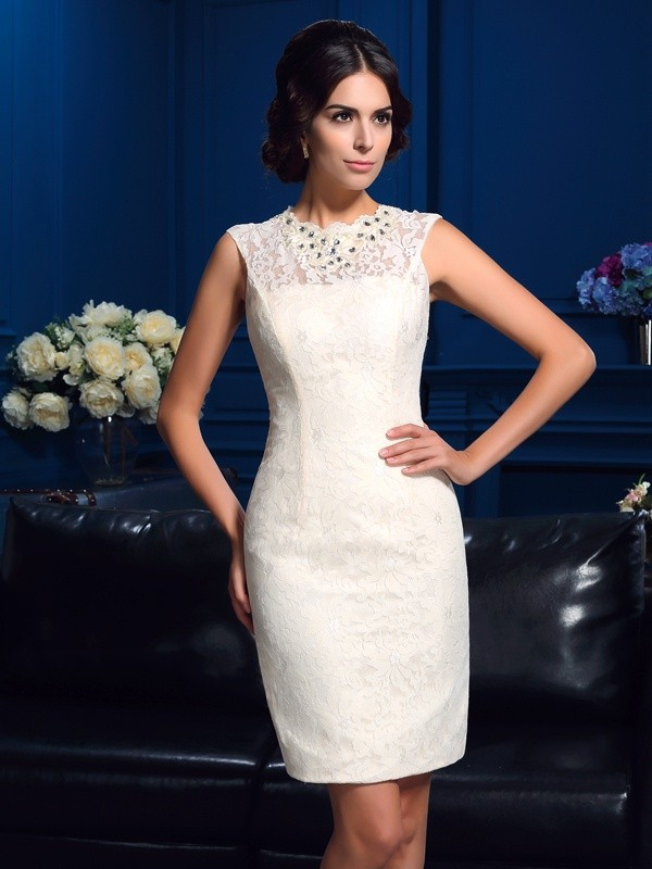 Amazing Sheath Jewel Lace Sleeveless Short Lace Mother of the Bride Dress