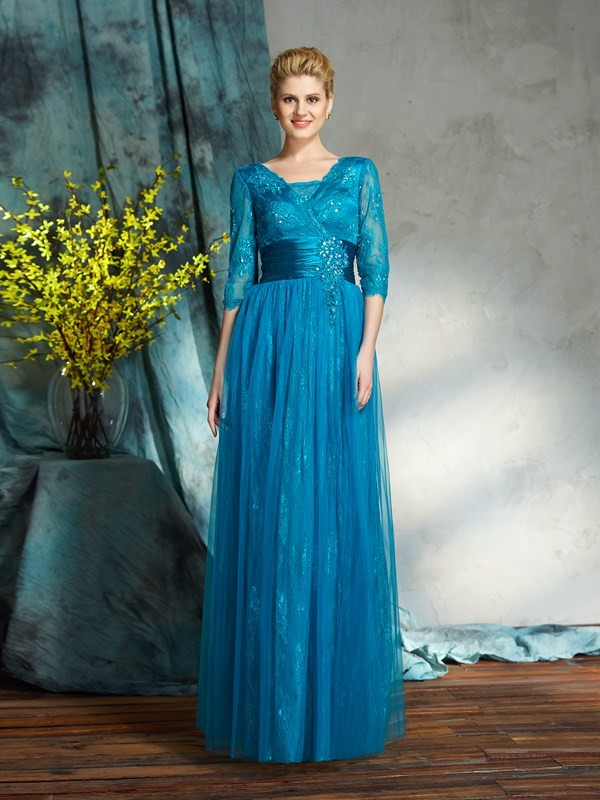 Amazing A-Line V-neck 3/4 Sleeves Long Net Mother of the Bride Dress