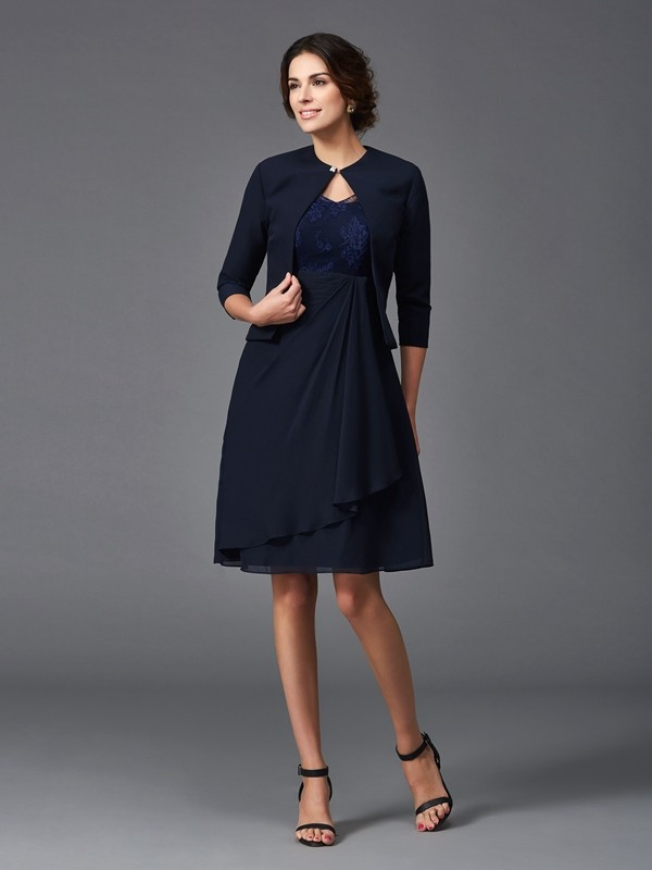 Amazing A-Line V-neck Lace 1/2 Sleeves Short Chiffon Mother of the Bride Dress