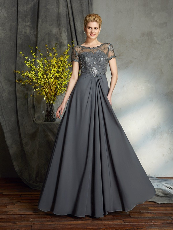 Amazing A-Line Scoop Short Sleeves Long Chiffon Mother of the Bride Dress