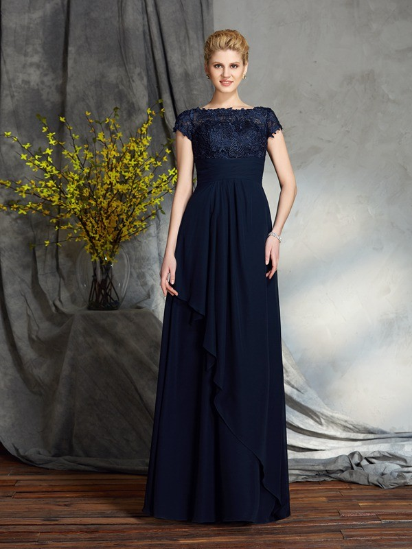 Amazing A-Line Bateau Short Sleeves Long Chiffon Mother of the Bride Dress