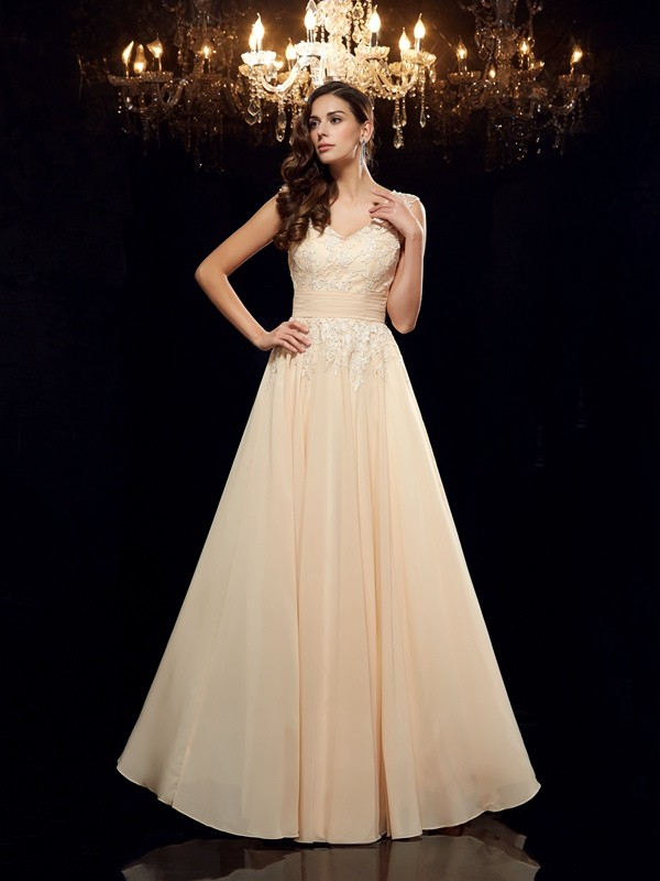 Amazing A-Line Straps Sleeveless Long Chiffon Mother of the Bride Dress