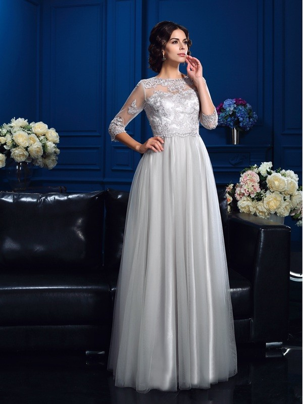Amazing A-Line Scoop 3/4 Sleeves Long Elastic Woven Satin Mother of the Bride Dress