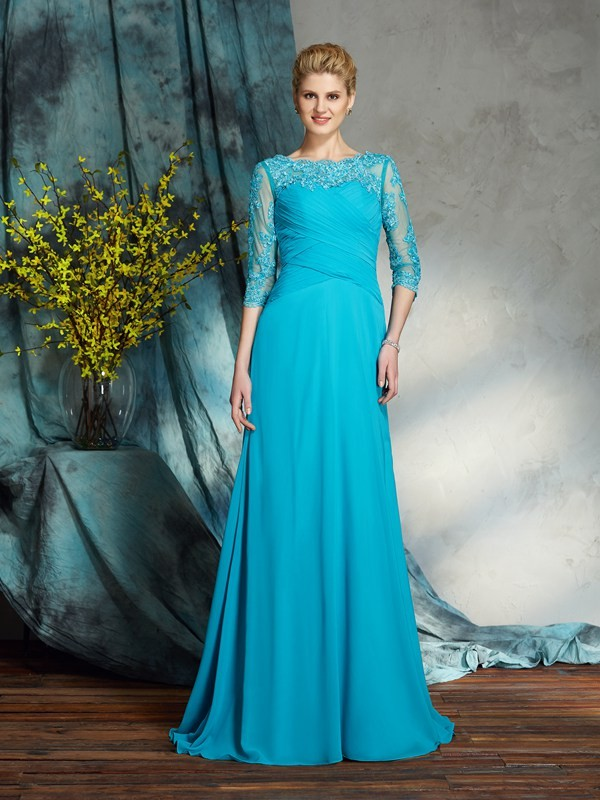 Amazing A-Line Bateau 3/4 Sleeves Long Chiffon Mother of the Bride Dress