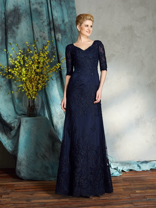 Amazing Sheath V-neck 1/2 Sleeves Long Satin Mother of the Bride Dress