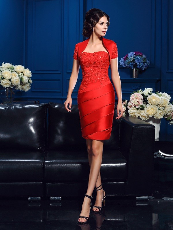 Amazing Sheath Sweetheart Sleeveless Short Satin Mother of the Bride Dress