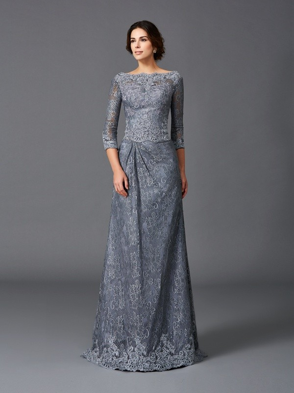 Amazing A-Line Bateau Lace 3/4 Sleeves Long Net Mother of the Bride Dress
