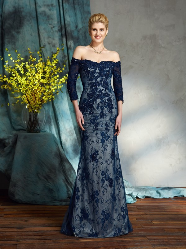 Amazing Mermaid Off-the-Shoulder Lace 3/4 Sleeves Long Lace Mother of the Bride Dress