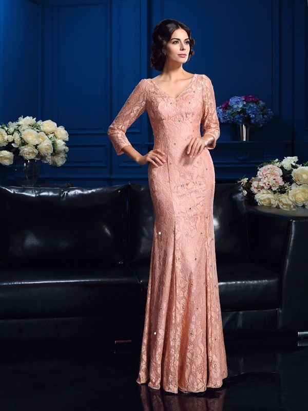 Amazing Sheath V-neck 3/4 Sleeves Long Lace Mother of the Bride Dress