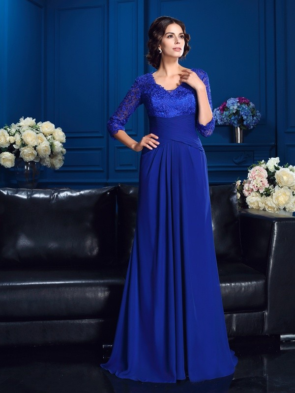 Glamorous A-Line V-neck 3/4 Sleeves Long Chiffon Mother of the Bride Dress
