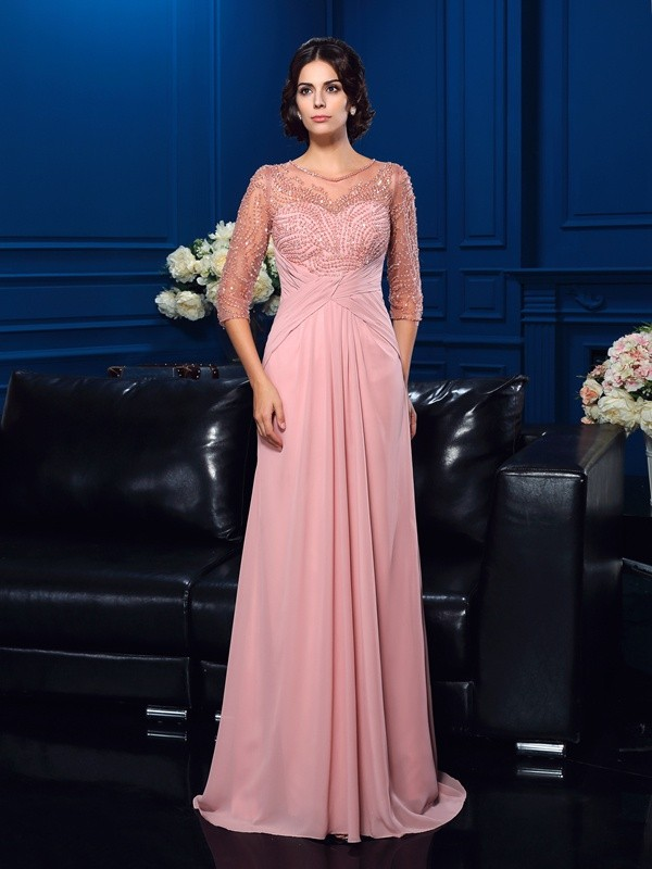 Glamorous A-Line Scoop 3/4 Sleeves Long Chiffon Mother of the Bride Dress