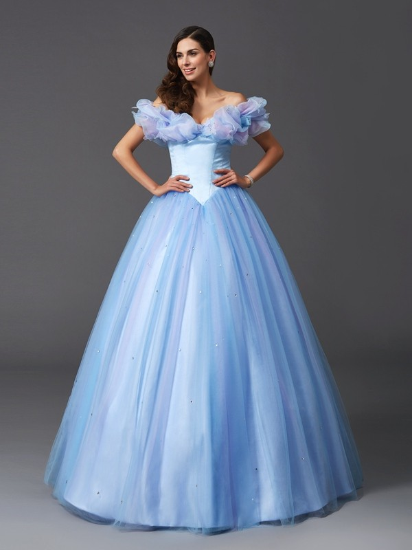 Glamorous Ball Gown Off-the-Shoulder Sleeveless Long Net Quinceanera Dress