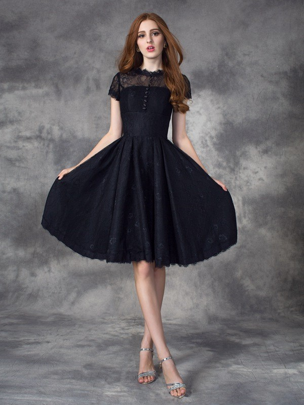 Glamorous A-Line Jewel Lace Short Sleeves Short Lace Dress
