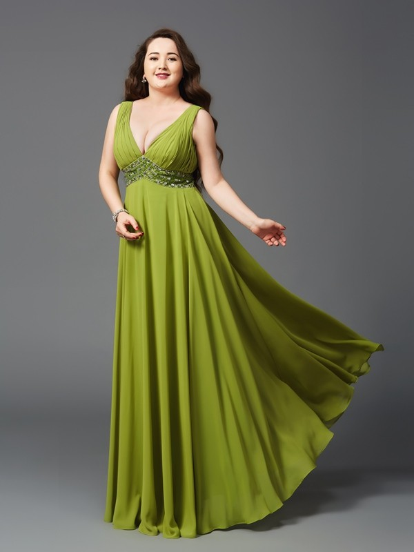 Glamorous A-Line Straps Sleeveless Long Chiffon Plus Size Dress