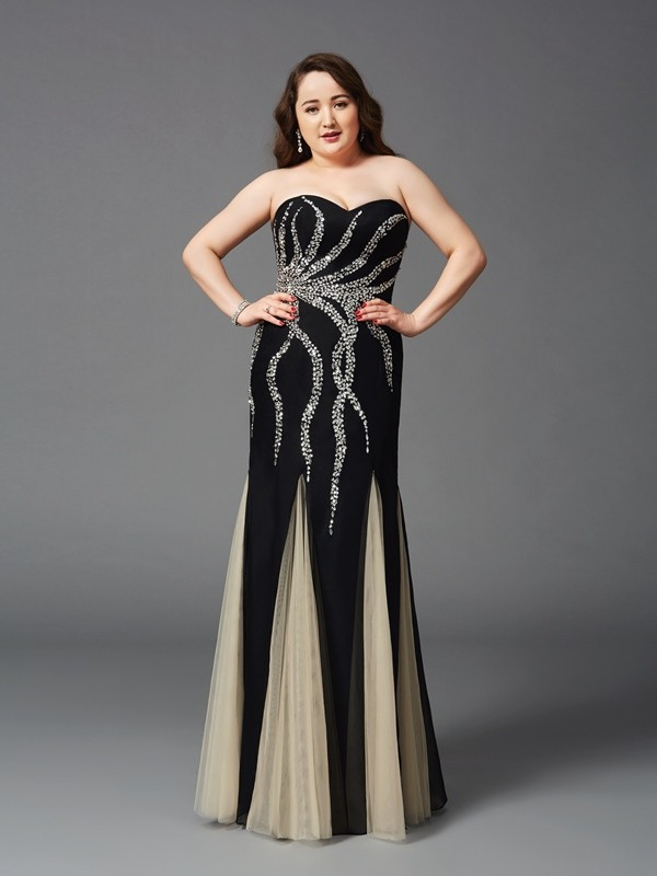 Glamorous Sheath Sweetheart Sleeveless Long Chiffon Plus Size Dress