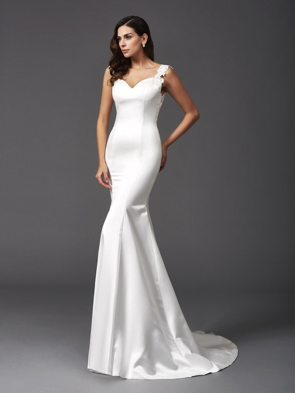 Glamorous Mermaid Straps Sleeveless Long Satin Wedding Dress