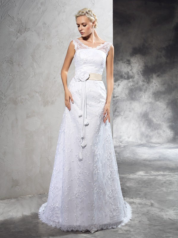 Glamorous Sheath Sheer Neck Sleeveless Long Satin Wedding Dress