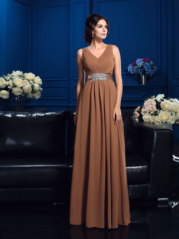 Glamorous A-Line V-neck Sleeveless Long Chiffon Mother of the Bride Dress