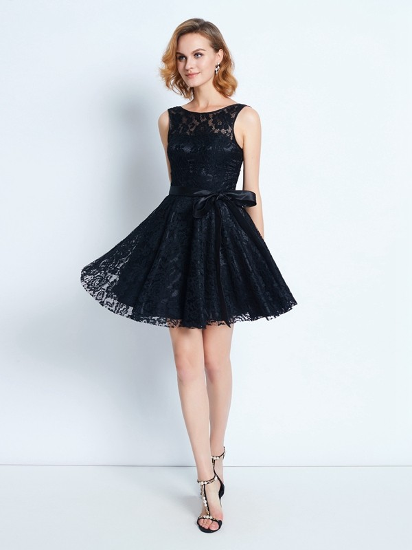 Beautiful A-Line Scoop Lace Sleeveless Short/Mini Dress
