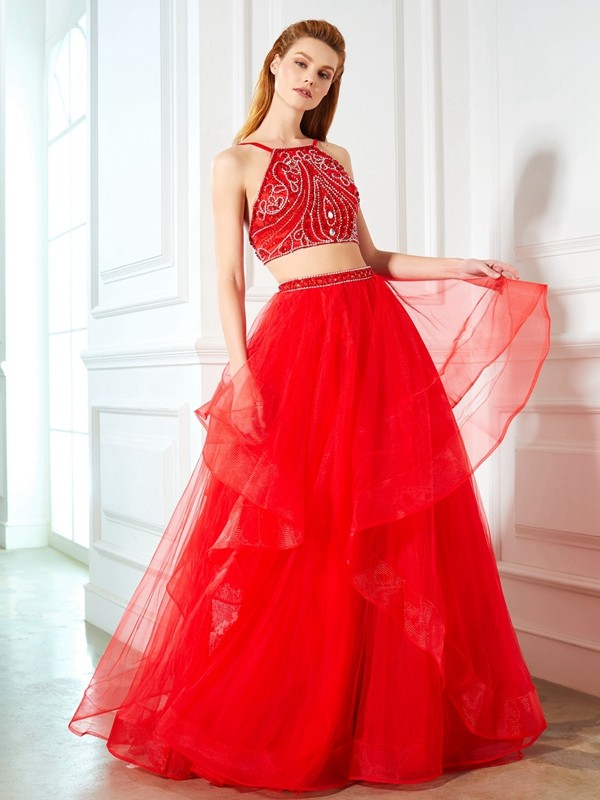 Affordable A-Line Spaghetti Straps Sleeveless Floor-Length Tulle Two Piece Dress