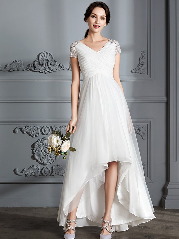 Fancy A-Line V-neck Short Sleeves Asymmetrical Tulle Wedding Dress