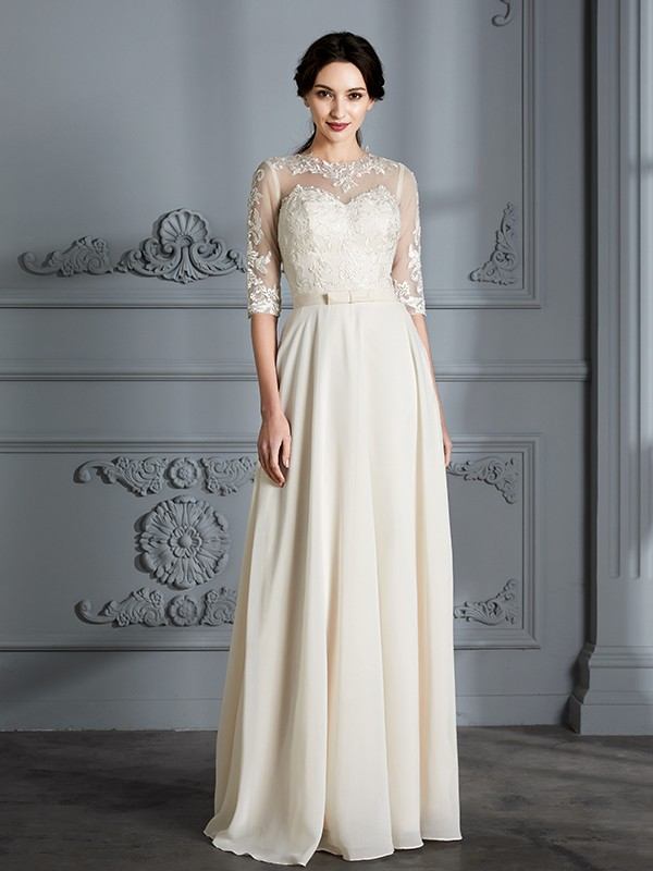 Fancy A-Line Scoop 1/2 Sleeves Floor-Length Chiffon Wedding Dress