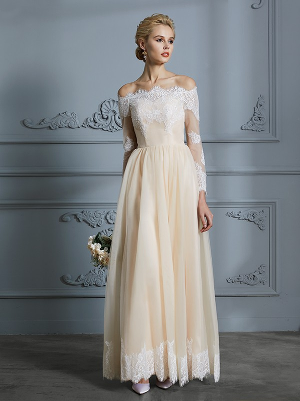Unique A-Line Off-the-Shoulder Long Sleeves Floor-Length Lace Tulle Wedding Dress