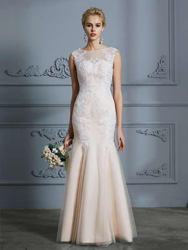 Unique Mermaid Scoop Sleeveless Tulle Floor-Length Wedding Dress